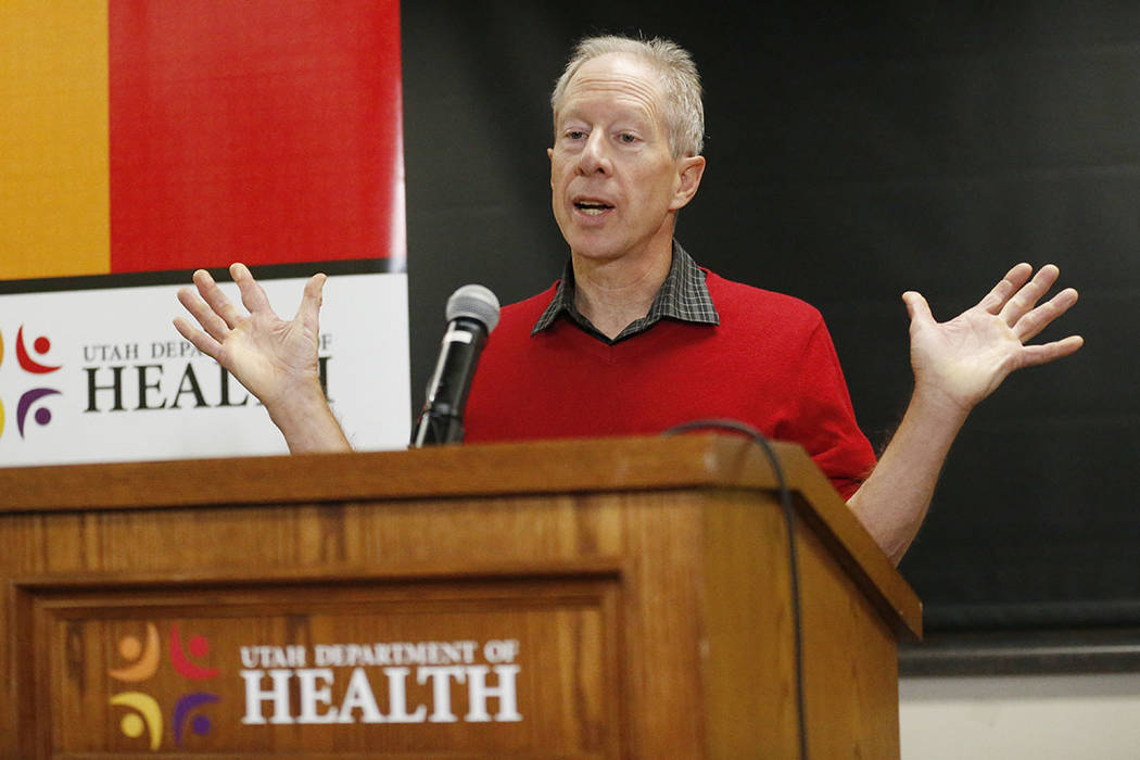 Michael Friedrichs, Bureau of Health Promotion Epidemiologist, Utah Department of Health, speaks to reporters during a news conference Thursday, Nov. 30, 2017, in Salt Lake City. (AP Photo/Rick Bo ...