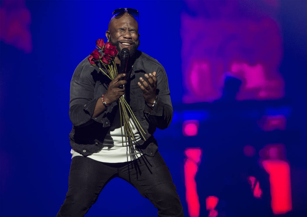 Boyz II Men's Wanya Morris performs during the Vegas Strong Benefit Concert at T-Mobile Arena on Friday, Dec. 1, 2017, in Las Vegas. Benjamin Hager Las Vegas Review-Journal @benjaminhphoto