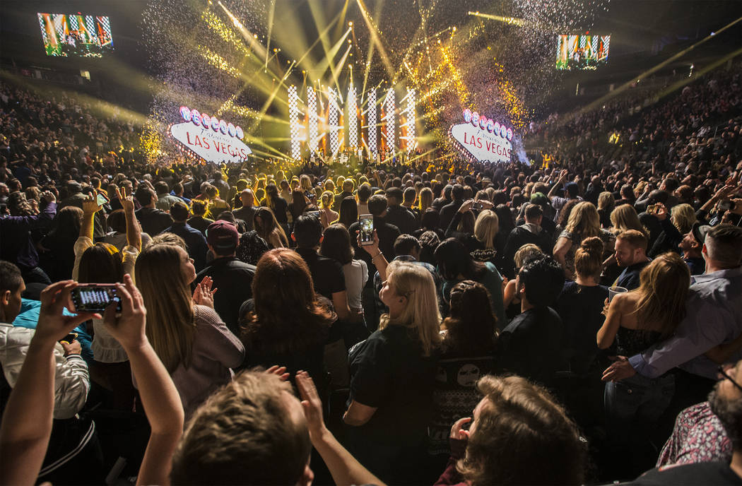 Benefit performers sing one last song together at the conclusion of the Vegas Strong Benefit Concert at T-Mobile Arena on Friday, Dec. 1, 2017, in Las Vegas. Benjamin Hager Las Vegas Review-Journa ...