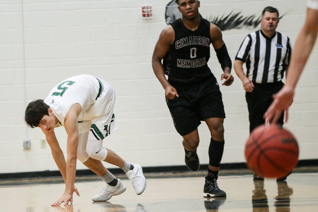 Palo Verde's Tieman Allen (5) eyes the ball during the second quarter of a basketball game against Cimarron-Memorial at Palo Verde High School in Las Vegas, Thursday, Dec. 7, 2017. Cimarron ...
