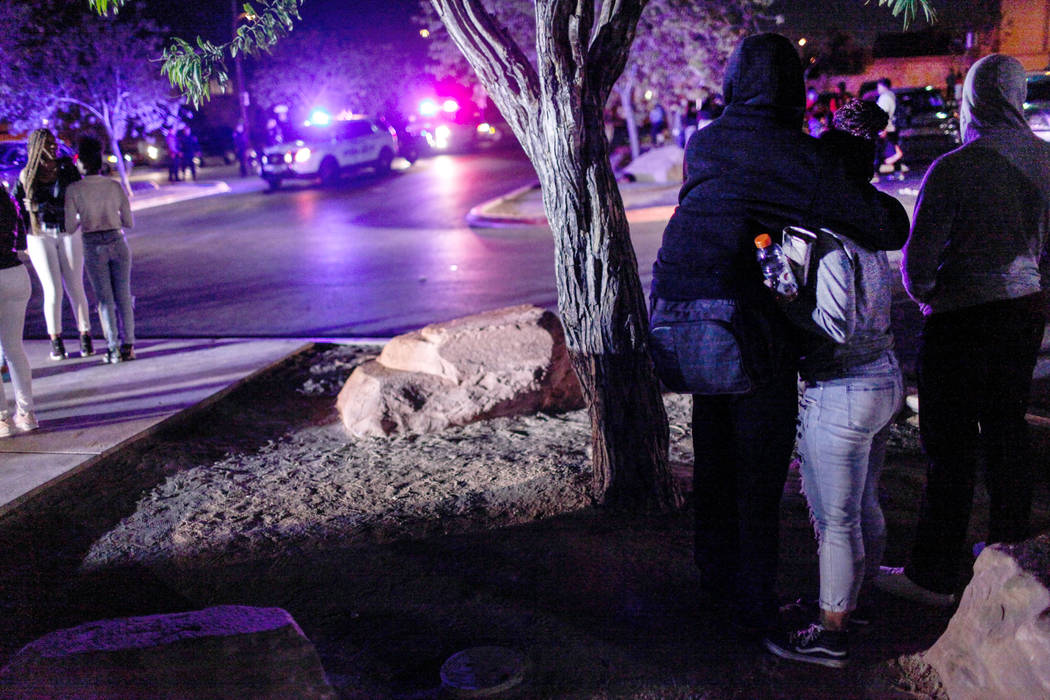 Officers respond after using pepper spray to break up a fight following a basketball game at Canyon Springs High School in North Las Vegas, Friday, Dec. 8, 2017. Joel Angel Juarez Las Vegas Review ...
