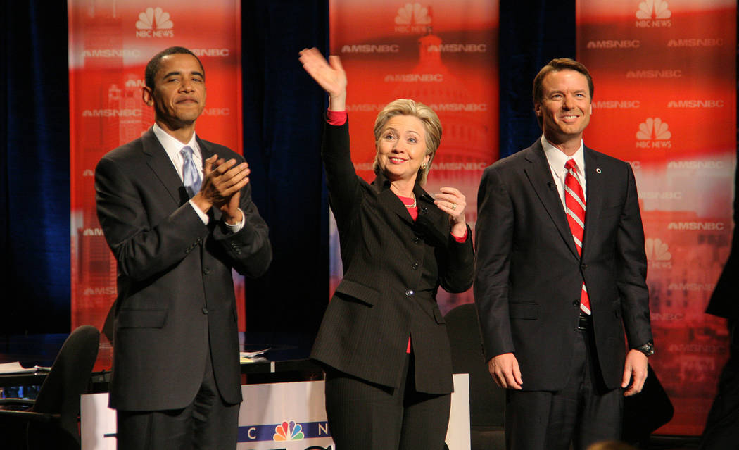 Las Vegas News Bureau Barack Obama, Hillary Clinton and John Edwards at the Democratic Presidential Debate @ Cashman Center. 1/15/08  Barack Obama US President 2009-