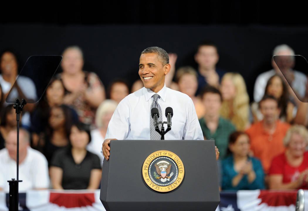 U.S. President Barack Obama addresses supporters at Cashman Center in Las Vegas. Wednesday, September 12, 2012. Credit: Darrin Bush/Las Vegas News Bureau