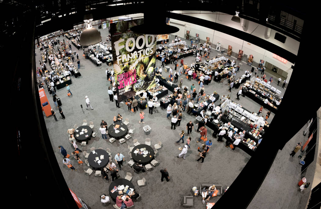 Overhead view of the show floor at the Food Fanatics Live convention at the Cashman Convention Center in Las Vegas on Wednesday, June 1, 2016. CREDIT: Mark Damon/Las Vegas News Bureau
