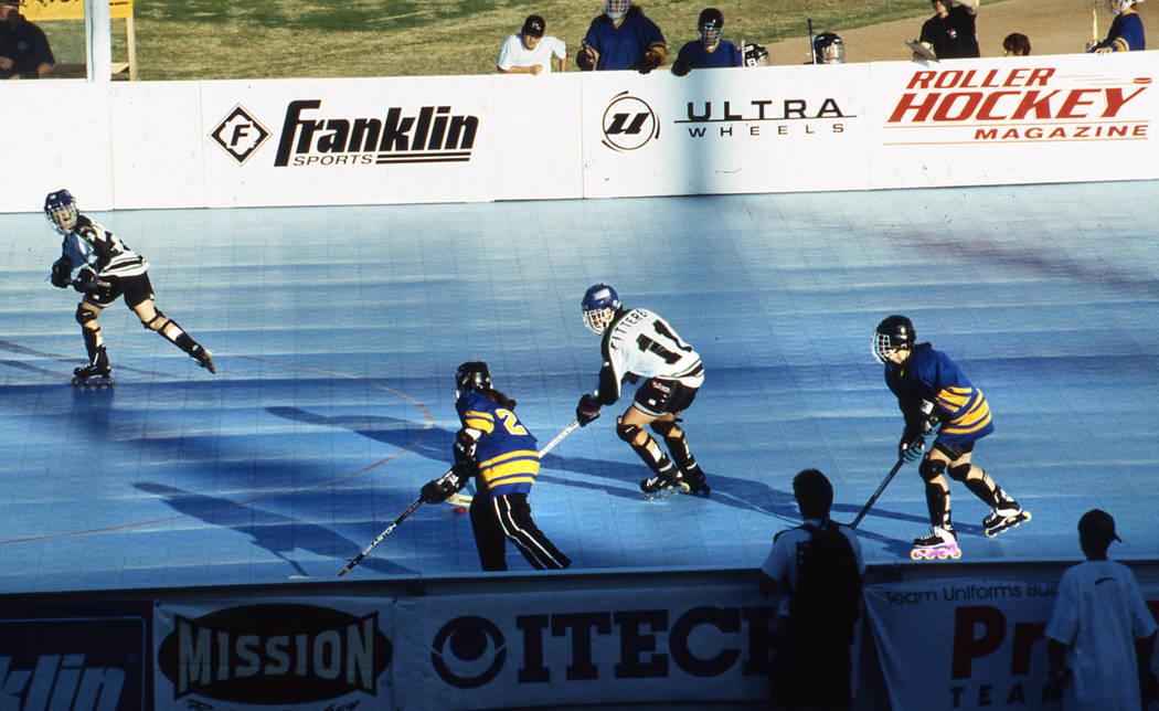 Las Vegas News Bureau Inline hockey skating at Cashman center 10/19/95