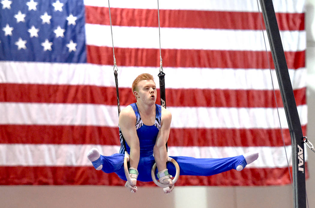 Cameron Bock of SCATS Gym competes on the rings during the mens gymnastic Winter Cup Challenge at Cashman Center in Las Vegas. Saturday, February 20, 2016.  CREDIT: Glenn Pinkerton/Las Vegas News  ...