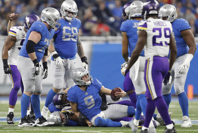 Nov 23, 2017; Detroit, MI, USA; Detroit Lions quarterback Matthew Stafford (9) yells out after getting sacked during the fourth quarter against the Minnesota Vikings at Ford Field. Mandatory Credi ...