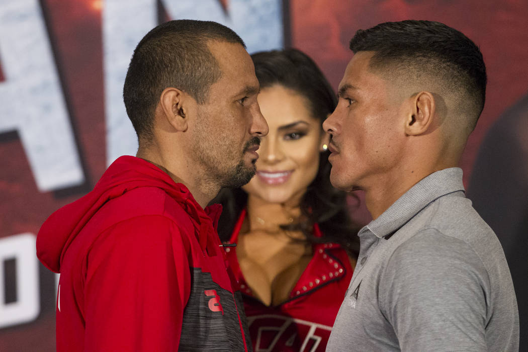 Orlando Salido, left, and Miguel Roman during a boxing press conference at the Mandalay Bay Events Center in Las Vegas, Thursday, Dec. 7, 2017. Erik Verduzco Las Vegas Review-Journal