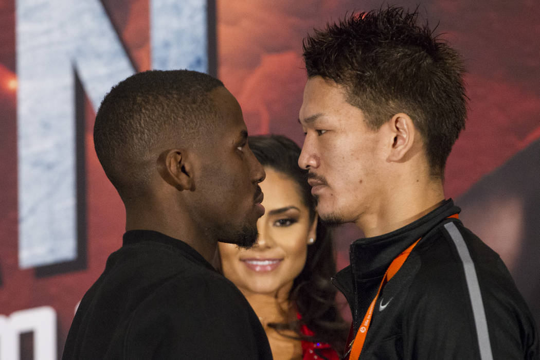Tevin Farmer, left, and Kenichi Ogawa during a boxing press conference at the Mandalay Bay Events Center in Las Vegas, Thursday, Dec. 7, 2017. Erik Verduzco Las Vegas Review-Journal