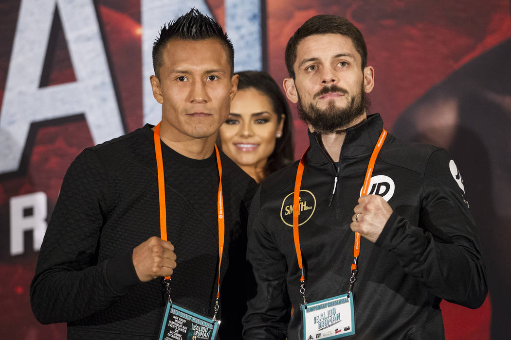 Francisco Vargas, left, and Stephen Smith during a boxing press conference at the Mandalay Bay Events Center in Las Vegas, Thursday, Dec. 7, 2017. Erik Verduzco Las Vegas Review-Journal