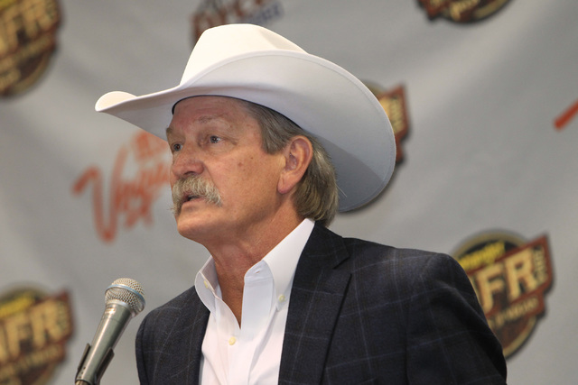 PRCA Commissioner Karl Stressman speaks to the media in his annual state of the rodeo briefing Tuesday, Dec. 9, 2014 at Cox Pavilion. (Sam Morris/Las Vegas Review-Journal)