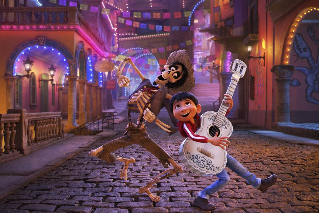 "In this image released by Disney-Pixar, character Hector, voiced by Gael Garcia Bernal, left, and Miguel, voiced by Anthony Gonzalez, appear in a scene from the animated film, ""Coco.& ..."