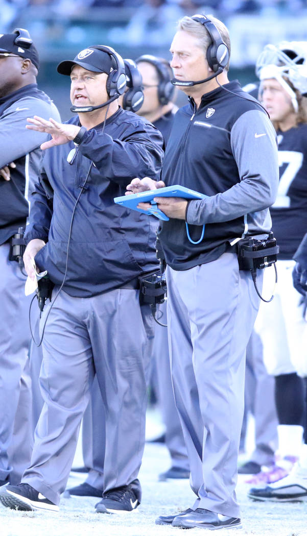 Oakland Raiders head coach Jack Del Rio, right, and defensive coordinator John Pagano coach from the sideline during the first half of a NFL game against the New York Giants in Oakland, Calif., Su ...