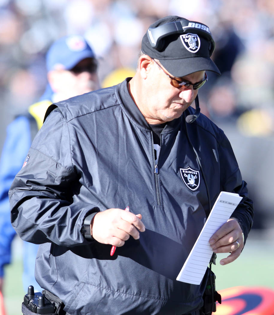 Oakland Raiders defensive coordinator John Pagano draws up a play call during the first half of a NFL game in Oakland, Calif., Sunday, Dec. 3, 2017. Heidi Fang Las Vegas Review-Journal @HeidiFang