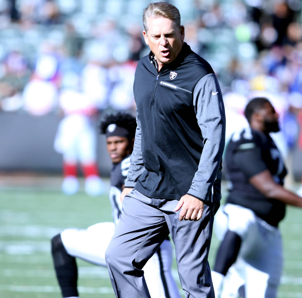 Oakland Raiders head coach Jack Del Rio during warm-ups before the team's game against the New York Giants in Oakland, Calif., Sunday, Dec. 3, 2017. Heidi Fang Las Vegas Review-Journal @HeidiFang