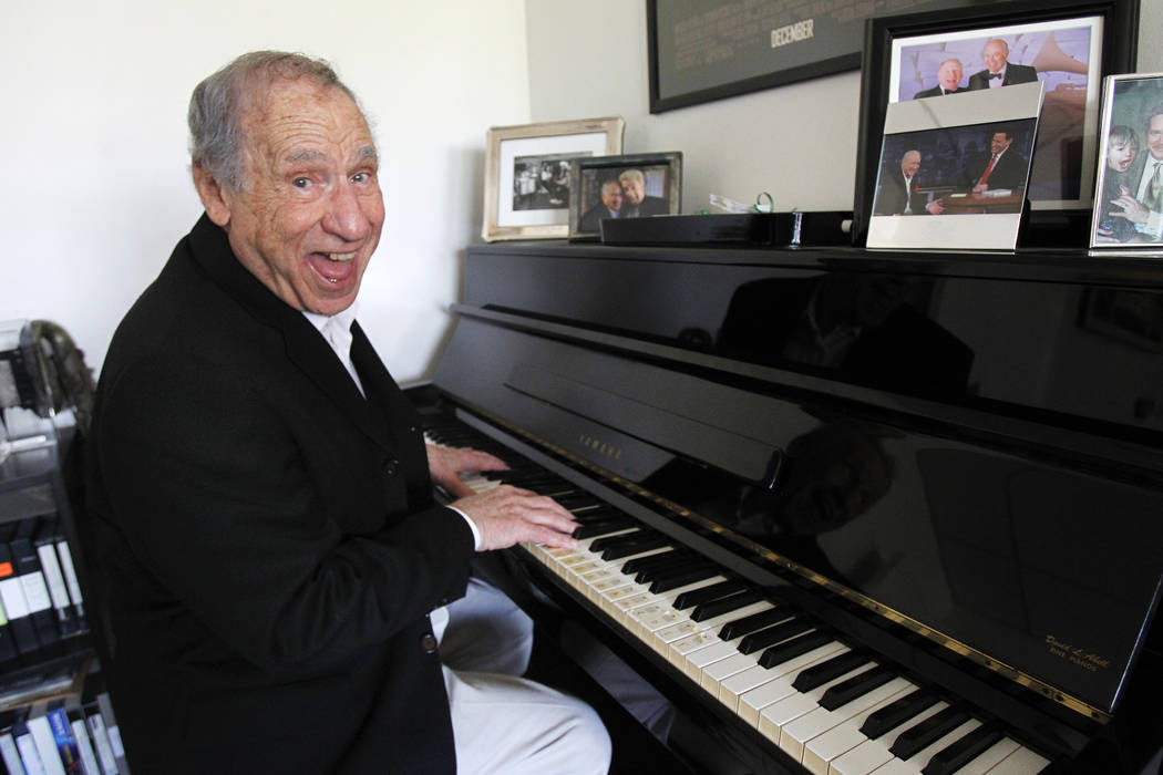 Producer Mel Brooks poses for a portrait in his office at The Culver Studios in Culver City, Calif., in 2013. (REUTERS/Mario Anzuoni)