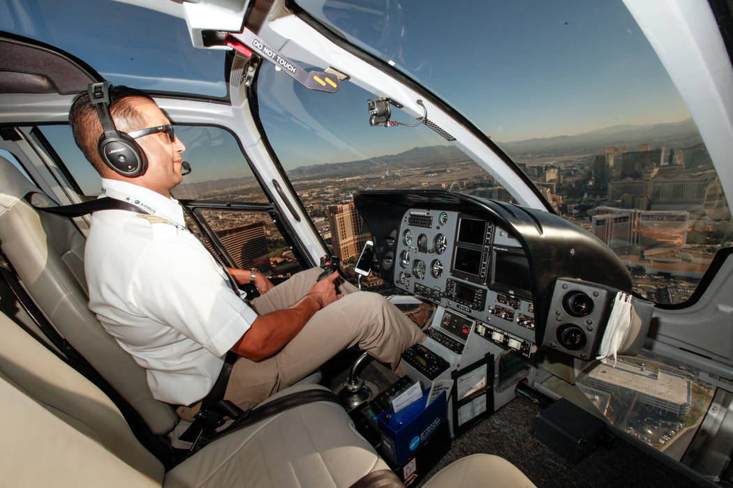 Maverick Helicopters Pilot Joe Munoz 41 Flies Near The Strip In Las Vegas