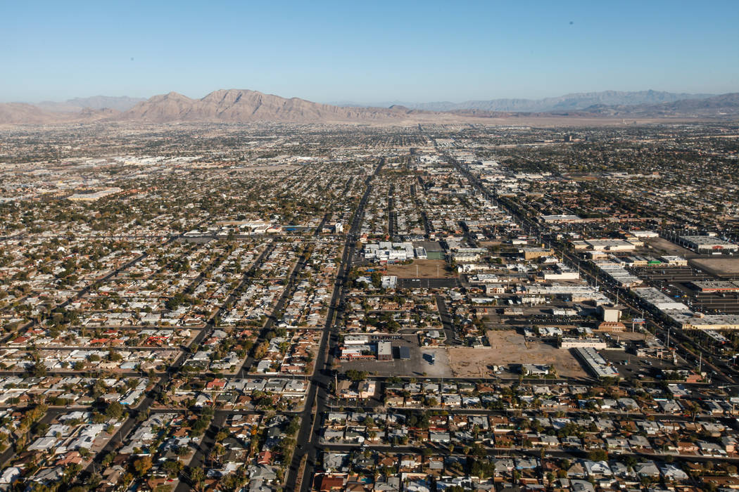 A view of Las Vegas and North Las Vegas as seen from inside a helicopter piloted by Joe Munoz, 41, of Maverick Helicopters, in Las Vegas, Friday, Dec. 1, 2017. Joel Angel Juarez Las Vegas Review-J ...