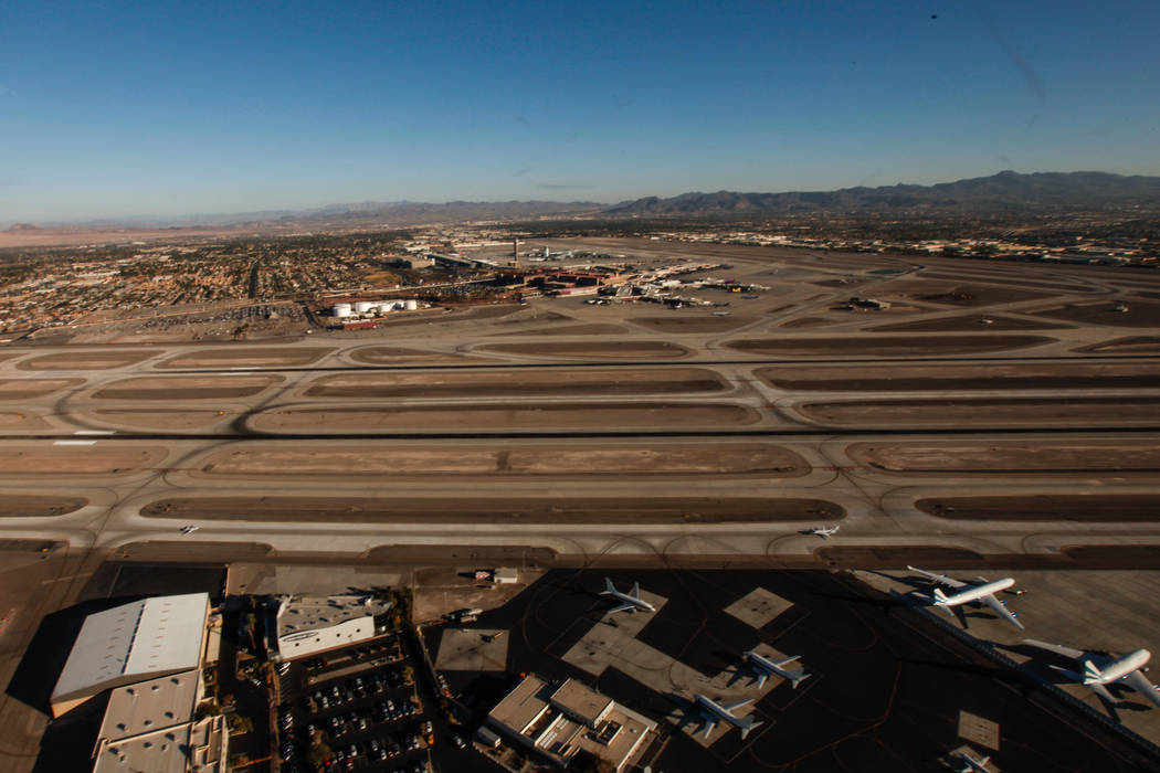 A view of McCarran International Airport as seen from inside a helicopter piloted by Joe Munoz, 41, of Maverick Helicopters, in Las Vegas, Friday, Dec. 1, 2017. Joel Angel Juarez Las Vegas Review- ...