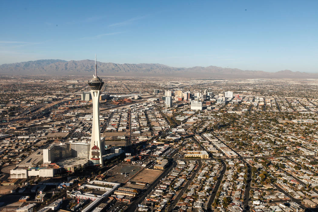 A view of the Stratosphere as seen from inside a helicopter piloted by Joe Munoz, 41, of Maverick Helicopters, in Las Vegas, Friday, Dec. 1, 2017. Joel Angel Juarez Las Vegas Review-Journal @jajua ...