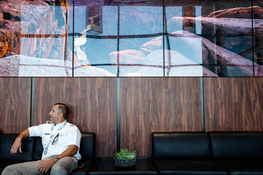 Pilot Joe Munoz, 41, sits inside an office at Maverick Helicopters in Las Vegas, Friday, Dec. 1, 2017. Joel Angel Juarez Las Vegas Review-Journal @jajuarezphoto