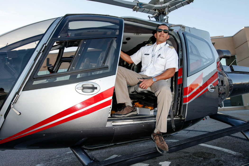 Maverick Helicopters Pilot Joe Munoz, 41, poses for a portrait at McCarran International Airport in Las Vegas, Friday, Dec. 1, 2017. Joel Angel Juarez Las Vegas Review-Journal @jajuarezphoto