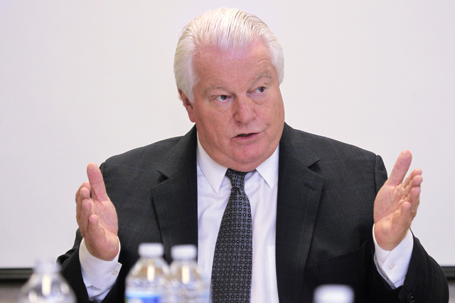 Roger Dow, president and CEO of U.S. Travel Association speaks during a Review-Journal editorial board meeting Tuesday, Oct. 14, 2014. (Sam Morris/Las Vegas Review-Journal)