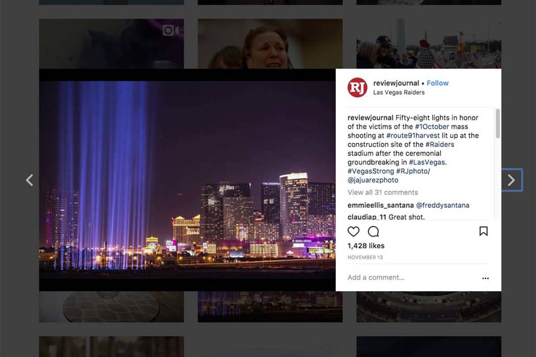 The Las Vegas Strip made the Top 10 of most Instagrammed locations of 2017. (Las Vegas Review-Journal/Instagram)