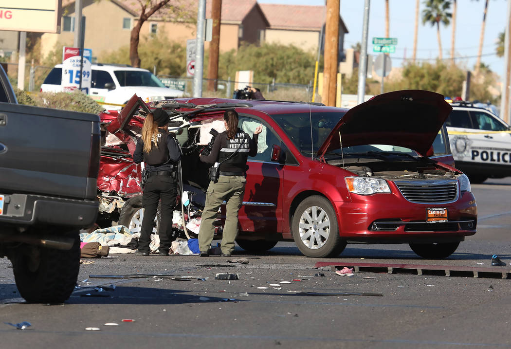 A 9-year-old child was injured in a vehicle crash at Broadbent Boulevard and Cherry Street in east Las Vegas, Monday, Dec. 4, 2017. (Bizuayehu Tesfaye/Las Vegas Review-Journal) @bizutesfaye
