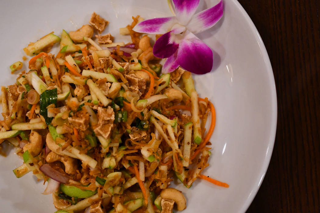 Among some of the most populat vegan items at Thailicious is Paradise Salad that's made with green apple, shredded coconut, basil, crispy tofu, a mix of soy, and lemon juice (Daria Sokolova/View)