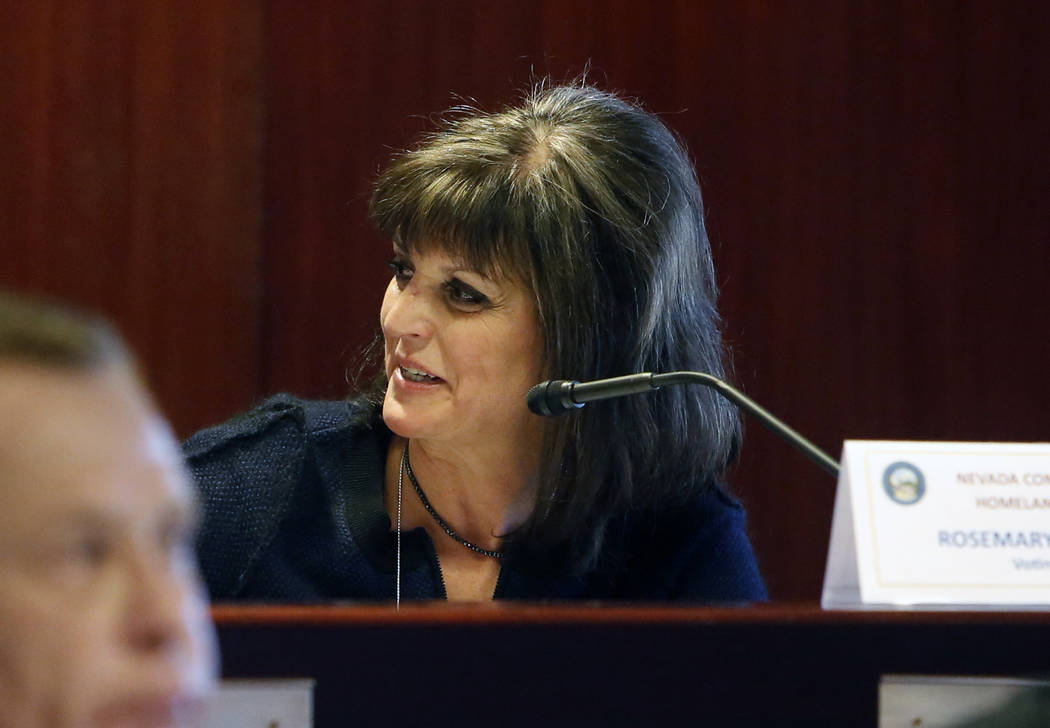 Rosemary Vassiliadis, director of Clark County's aviation department, speaks on Wednesday, Dec. 6, 2017, in Las Vegas, during a NevadaHomelandSecurityCommission meeting regarding theOct. ...