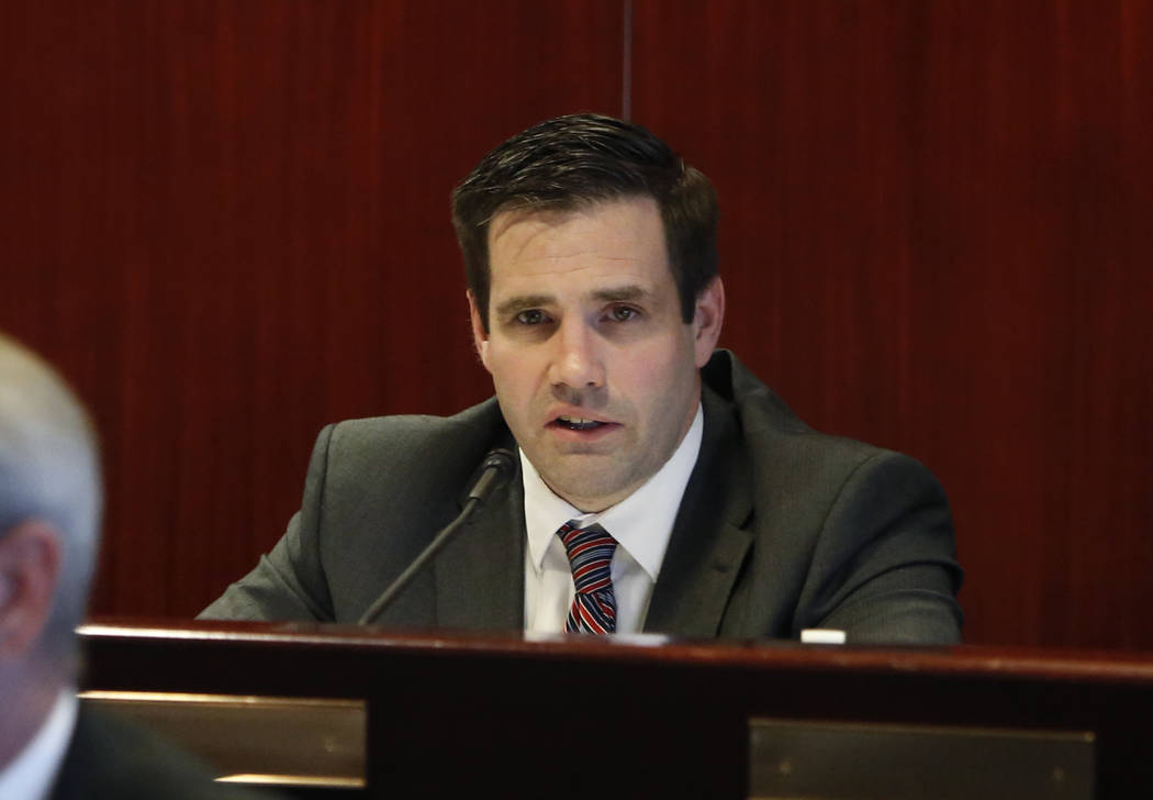 CalebCage,chiefoftheNevadaDivisionofEmergencyManagement,speaks on Wednesday, Dec. 6, 2017, in Las Vegas, during a NevadaHomelandSecurityCommission meeting regarding the ...
