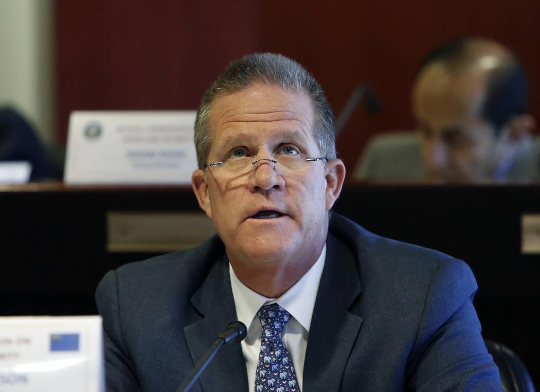 Lt. Gov. Mark Hutchison speaks Wednesday, Dec. 6, 2017, in Las Vegas, during a NevadaHomelandSecurityCommission meeting regarding theOct.1massshooting. Bizuayehu Tesfaye Las Vegas  ...