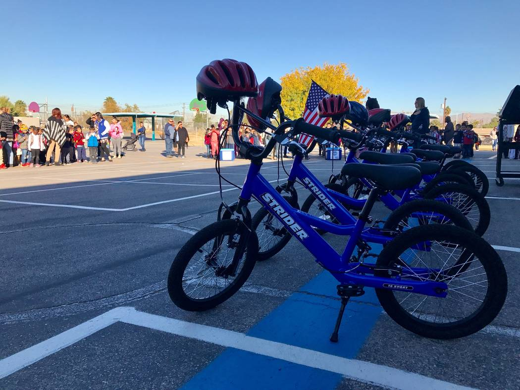 Bikes that the Southern Nevada Biking Coalition donated to Robert Lunt Elementary are displayed on Dec. 10, 2017 at 2701 E. Harris Ave. (Kailyn Brown/View)