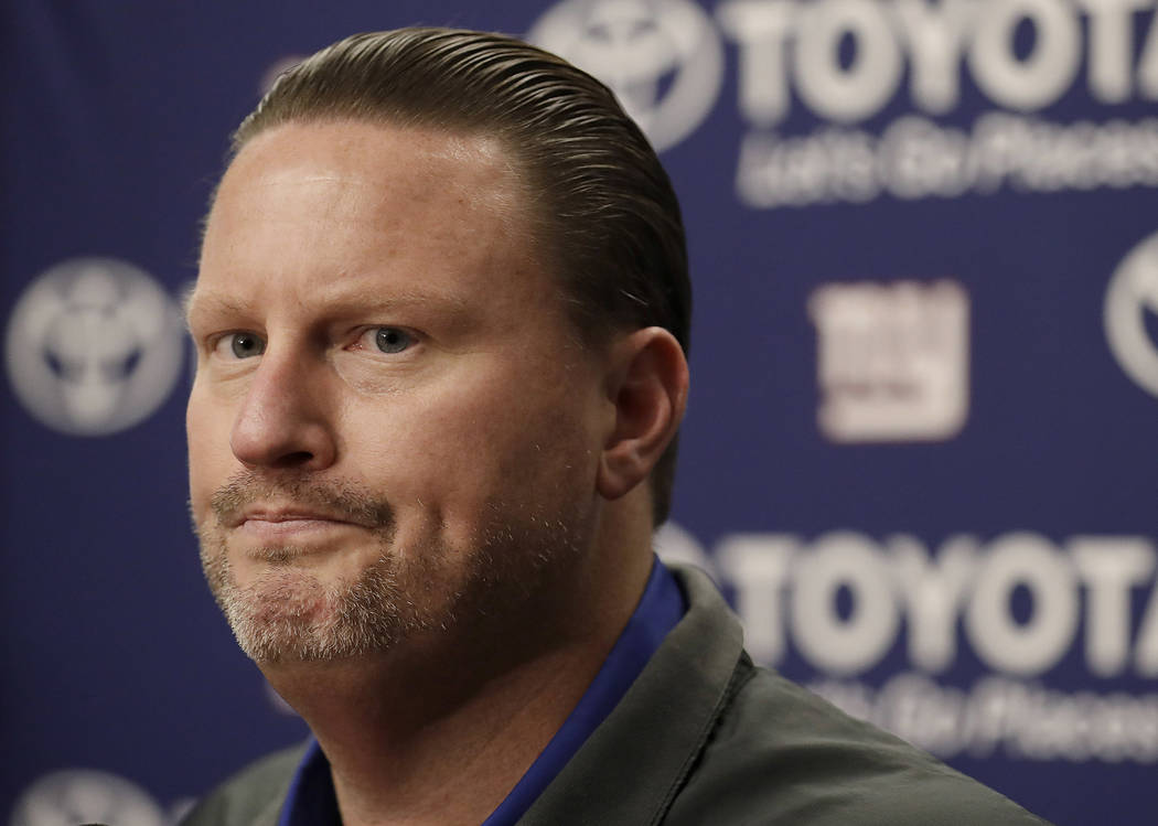 New York Giants head coach Ben McAdoo speaks at a news conference after an NFL football game between the Oakland Raiders and the Giants in Oakland, Calif., Sunday, Dec. 3, 2017. (Marcio Jose Sanch ...