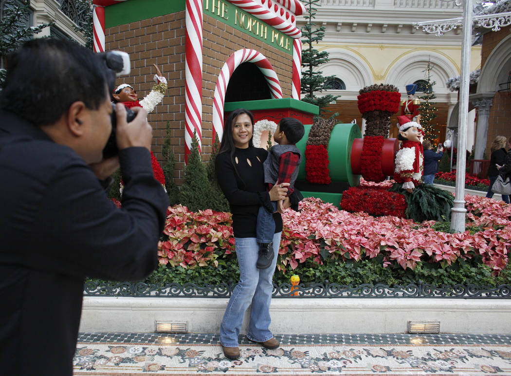 Raymond Baumbach takes a photo of his wife Joanna Baumbach and their son Raymond Jr. Baumbach, 3, at the Bellagio Conservatory & Botanical Gardens in Las Vegas, Monday, Dec. 4, 2017. Rachel As ...