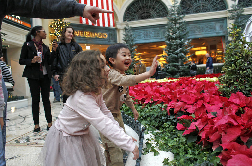 Tala Taherzadeh, 3, and Alden Sutheno, 3, wait for the toy train at the Bellagio Conservatory & Botanical Gardens in Las Vegas, Monday, Dec. 4, 2017. Rachel Aston Las Vegas Review-Journal @roo ...