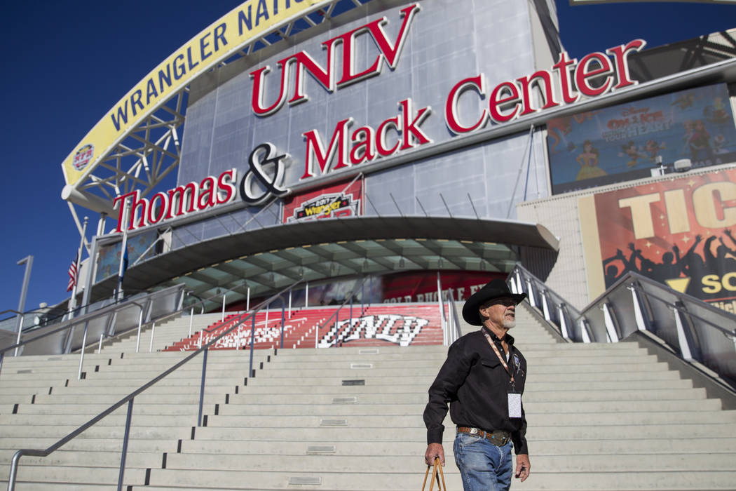 Keith Flake of Snowflake, Ariz., at the Thomas & Mack Center where he is working during the National Finals Rodeo, , Wednesday, Dec. 6, 2017. NFR starts tomorrow. Erik Verduzco Las Vegas Revie ...