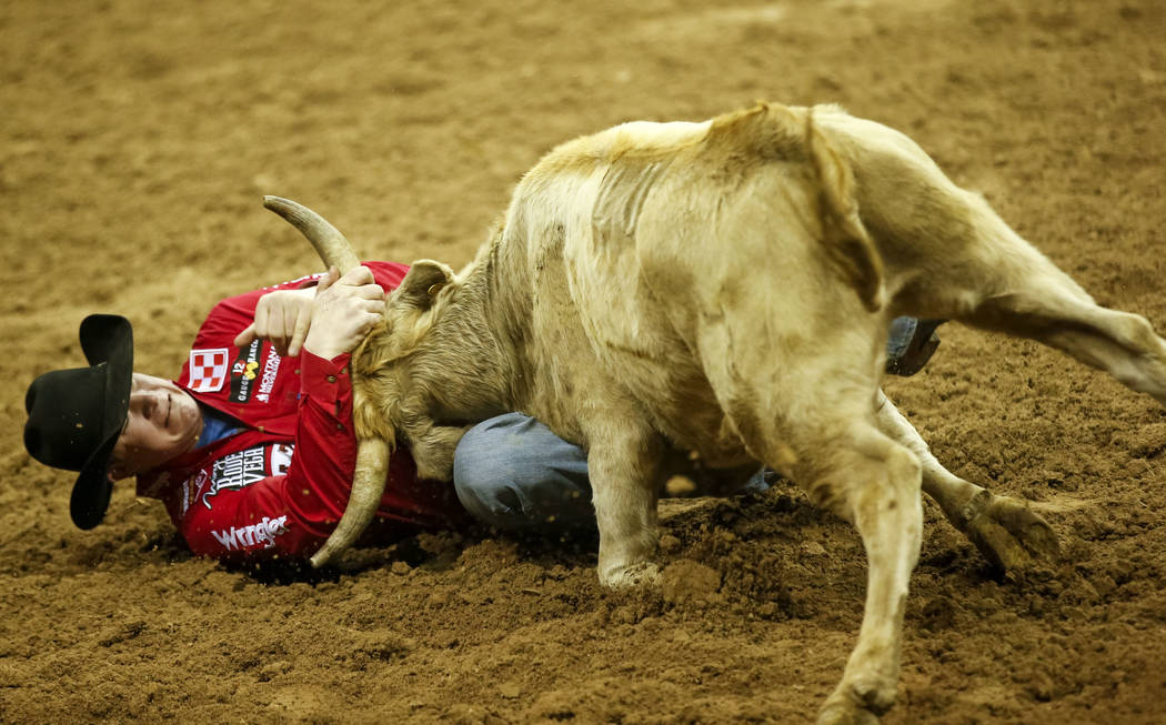 Ty Erickson of Helena, Montana takes part in the steer wrestling competition during the ninth go-round of the National Finals Rodeo, Friday, Dec. 15, 2017, at the Thomas & Mack Center in Las V ...
