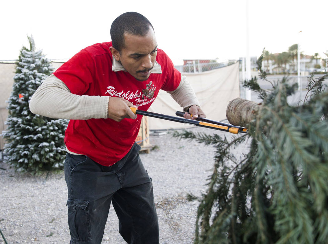 Ed Brown prepares a Christmas tree for a customer at Rudolph's Christmas Trees near the intersection of Alta Drive and Rampart Boulevard in Las Vegas, Wednesday, Dec. 6, 2017. Erik Verduzco Las Ve ...