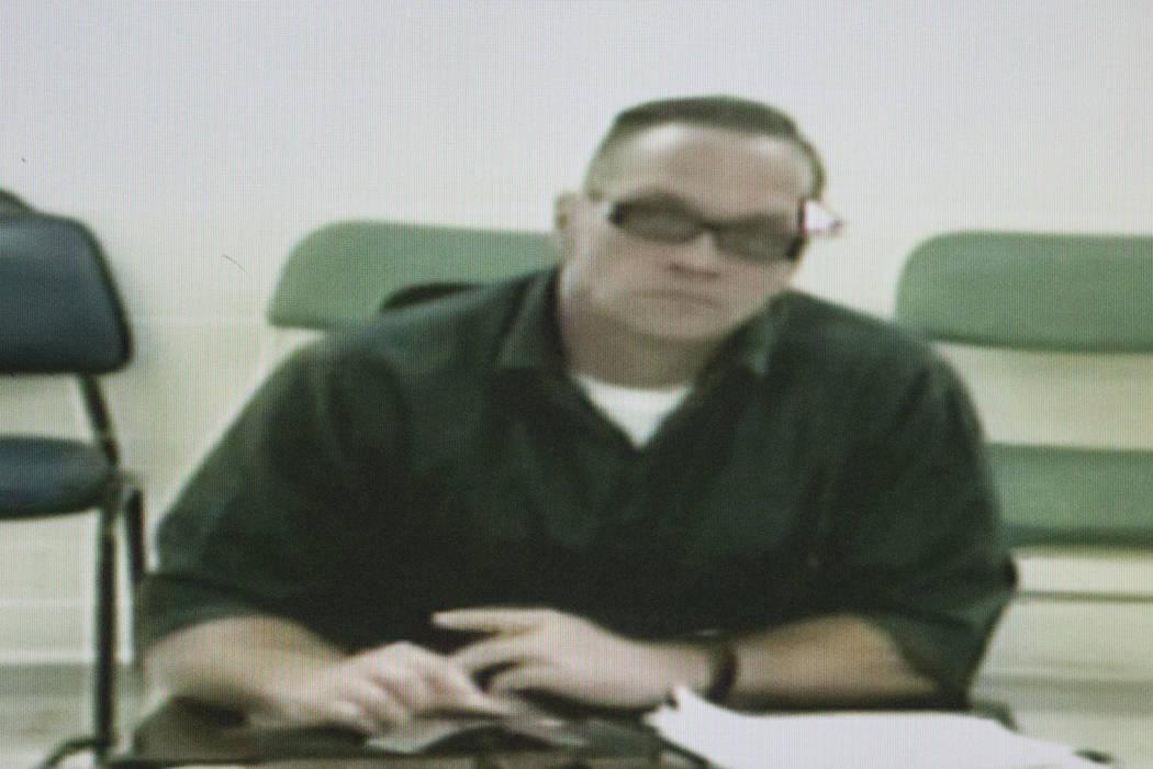 Death row inmate Scott Dozier appears for his court hearing by video at the Regional Justice Center in Las Vegas, Tuesday, Dec. 5, 2017. (Erik Verduzco/Las Vegas Review-Journal) @Erik_Verduzco