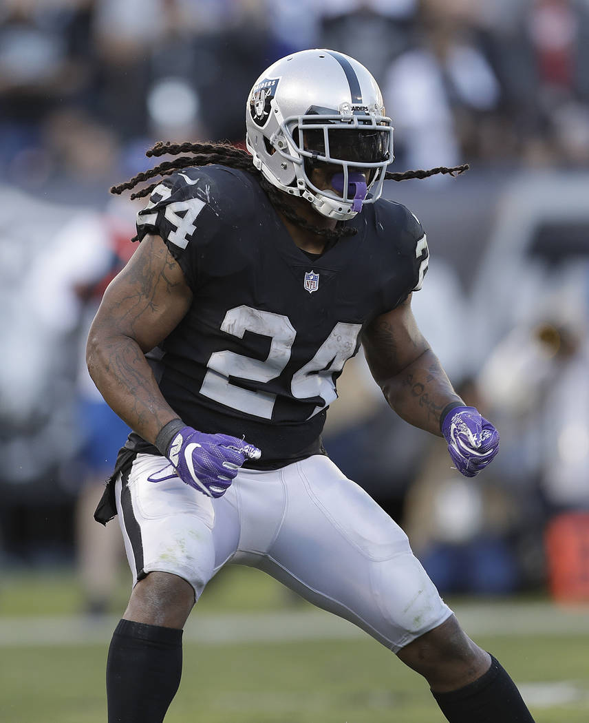 Oakland Raiders running back Marshawn Lynch (24) against the New York Giants during an NFL football game in Oakland, Calif., Sunday, Dec. 3, 2017. (AP Photo/Marcio Jose Sanchez)