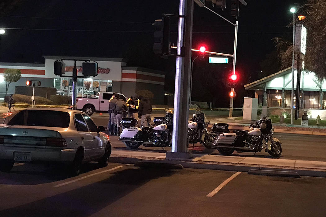 Police at the intersection of Sahara Avenue and Sixth Street where a pedestrian was fatally struck by a vehicle on Monday, Dec. 4, 2017. Blake Apgar Las Vegas Review-Journal @blakeapgar
