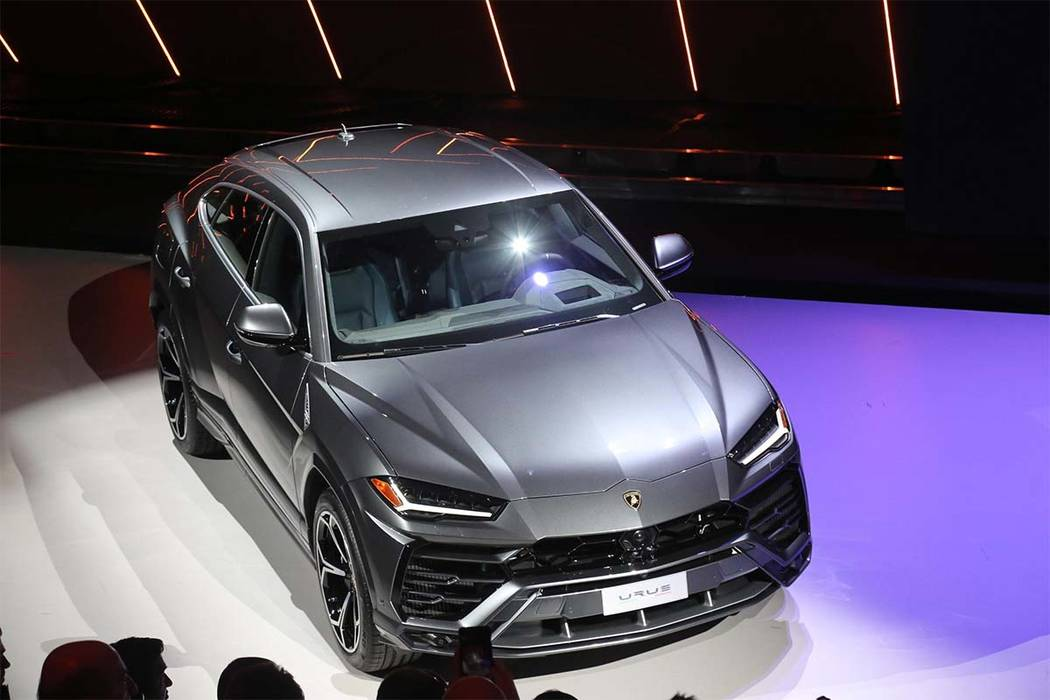 Lamborghini unveiled the Urus SUV on Monday at its headquarters in Sant'Agata, Italy, where the supercar maker is expanding the factory to meet utility vehicle demand. (Giorgio Benvenuti/ANSA vi ...