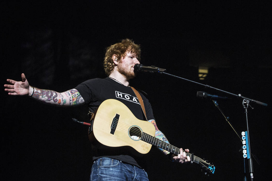 Ed Sheeran plays to a sold out crowd at T-Mobile Arena on Friday, Aug 4, 2017, in Las Vegas. (Benjamin Hager/Las Vegas Review-Journal) @benjaminhphoto