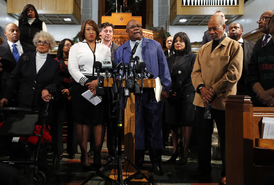 The Rev. Wendell Anthony president of the Detroit Branch of the NAACP speaks at a rally in Detroit Monday Dec. 4 2017. Clergy Detroit elected leaders and community activists are calling for