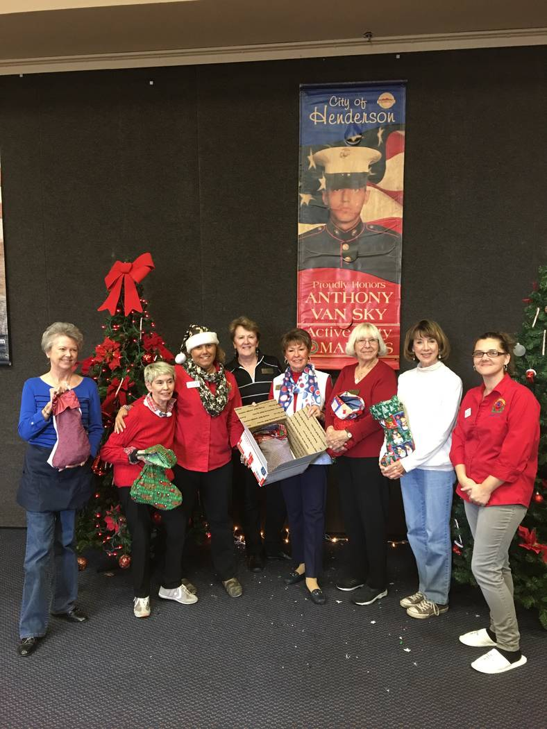 Members of the Las Vegas chapter of the Kiwi Club  are seen with Blue Star mothers Dec. 2, 2017 as they help a holiday effort for the troops. Seen left to right are: Donnita Gross, Sandy Coe, Meli ...