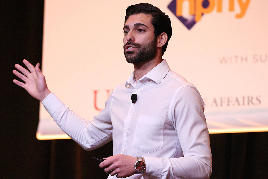 Giuseppe Pizano remarks his time as a homeless youth during the 2017 Southern Nevada Youth Homeless Summit at The Venetian hotel-casino in Las Vegas, Thursday, Nov. 2, 2017. Gabriella Benavidez La ...