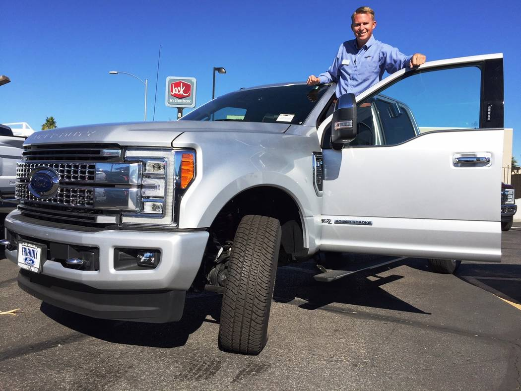 Friendly Ford Friendly Ford sales consultant Colin Gibson shows the 2017 Ford F-250 Platinum Super Duty at the dealership located at 660 N. Decatur Blvd.