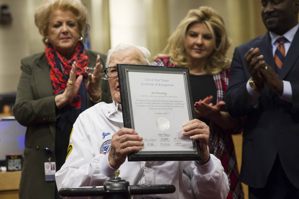 Pearl Harbor survivor Lt. Jim Downing receives recognition during a Las Vegas City Council meeting at Las Vegas City Hall, Wednesday, Dec. 6, 2017. (Erik Verduzco/Las Vegas Review-Journal)